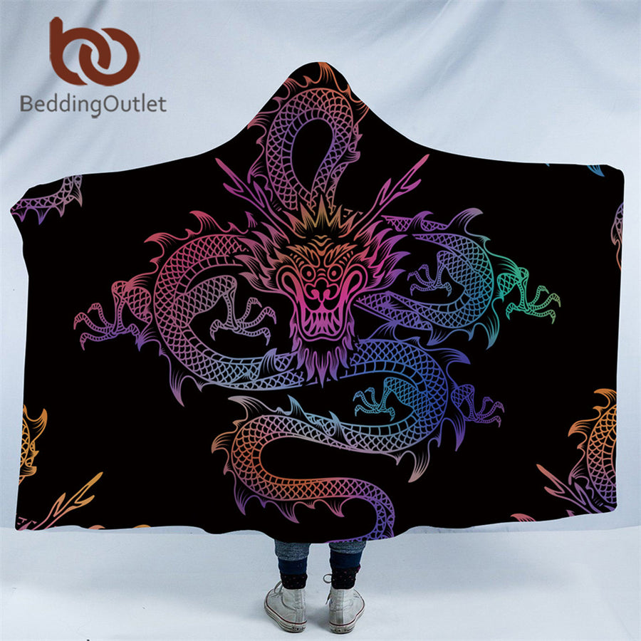 Dropshipful Dragon Totem Hooded Blanket for Adults Colorful Chinese Printed Sherpa Fleece Wearable Throw Blanket Microfiber - Dropshipful.com