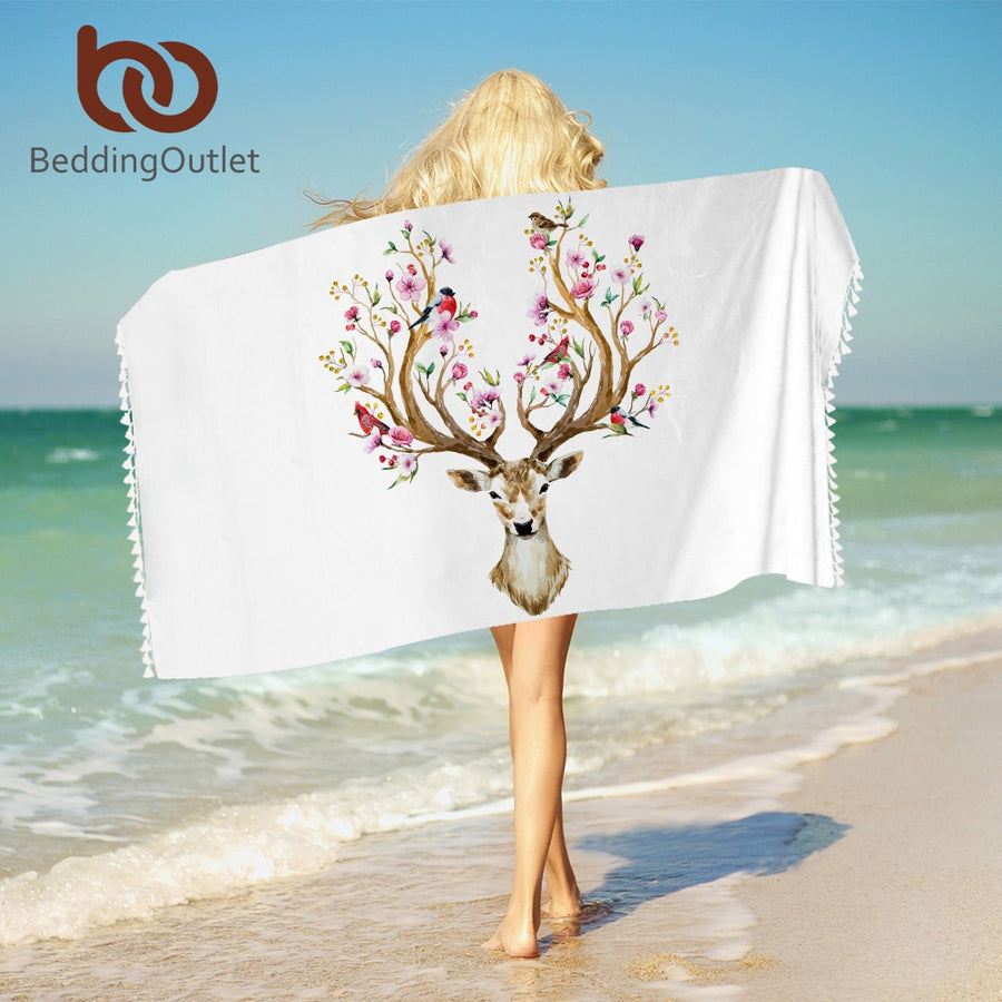 Dropshipful Floral Moose Bath Towel With Tassels Reindeer Microfiber Beach Towel For Woman Rectangle Deer Yoga Mat 75cmx150cm