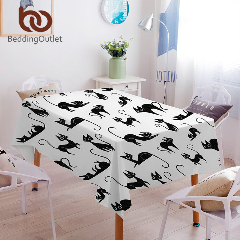 Dropshipful Cartoon Cats Tablecloth Waterproof Dinner Table Cloth Black and White Home Decoration Table Cover Washable Fashion - Dropshipful.com