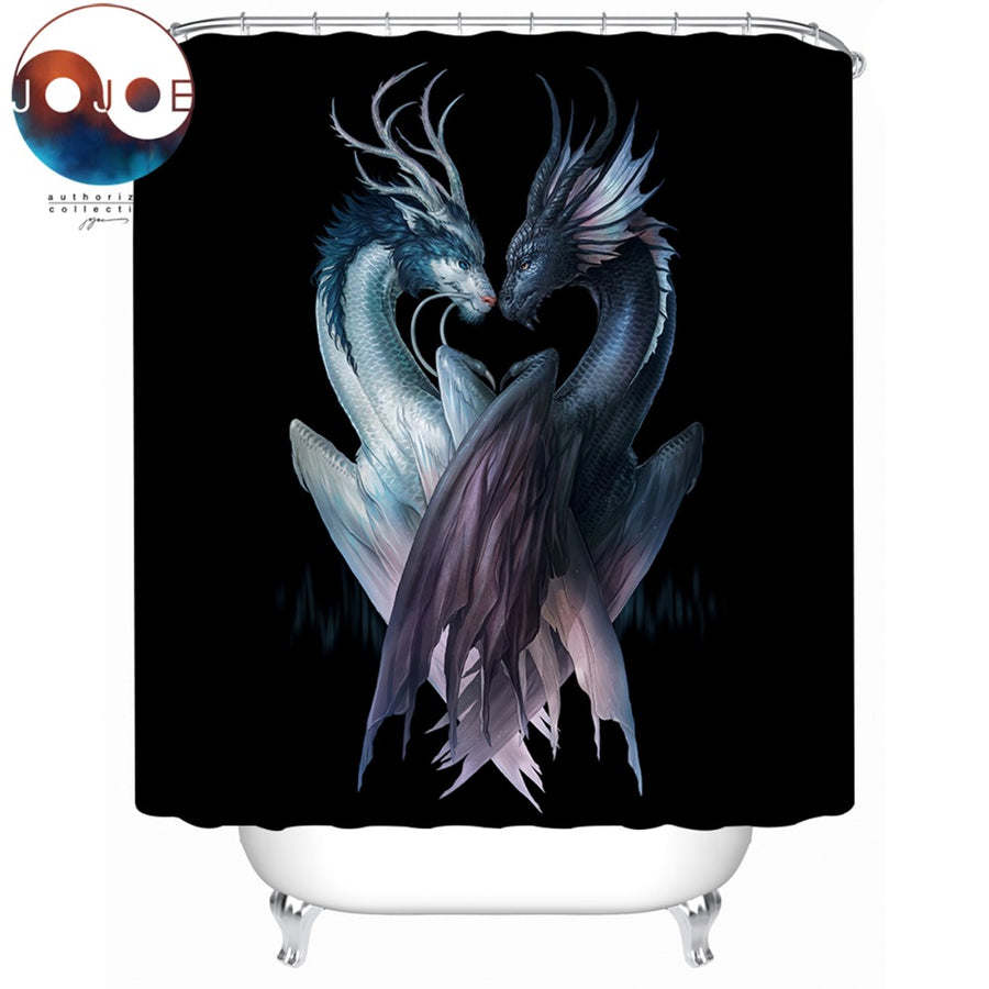 Yin and Yang Dragons Black by JoJoesArt Shower Curtain 3D Printed Waterproof Bathroom Curtain With Hooks Home Decor 150x180cm - Dropshipful.com