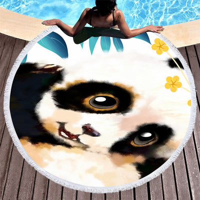 Panda Large Round Beach Towel  Microfiber Toalla Watercolor Animal Sunblock Blanket Yoga Mat Tassels 150cm - Dropshipful.com