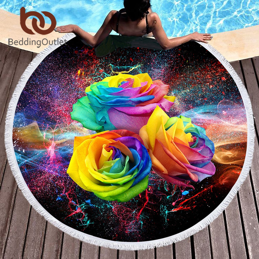 Dropshipful Colorful Roses Large Round Beach Towel for Woman Microfiber Toalla Picnic Blanket 3D Floral Yoga Mat 150cm Tassels - Dropshipful.com