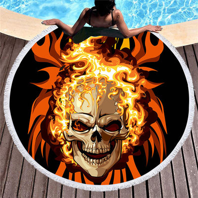 Microfiber Flame Skull Large Round Beach Towel 3D Blue Yellow Fire   150cm - Dropshipful.com