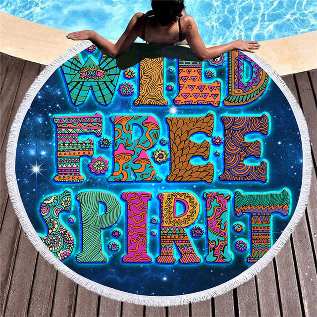 Microfiber Bohemian Tassel Large Round Beach Towel Colorful Letters   150cm - Dropshipful.com
