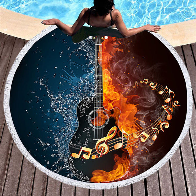 Dropshipful Bass Guitar Tassel Large Round Beach Towel 3D Fire And Water Microfiber Toalla Picnic Blanket Yoga Mat 150cm - Dropshipful.com