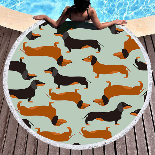 Dachshund Sausage Tassel Tapestry Round Beach Towel Cartoon Dog Pet Microfiber 150cm - Dropshipful.com