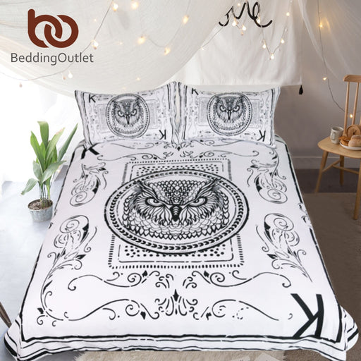 Dropshipful Owl Bedding Set Animal Card Printed Duvet Cover Set for Kids White and Black Bed Cover Classical Bedclothes 3pcs - Dropshipful.com