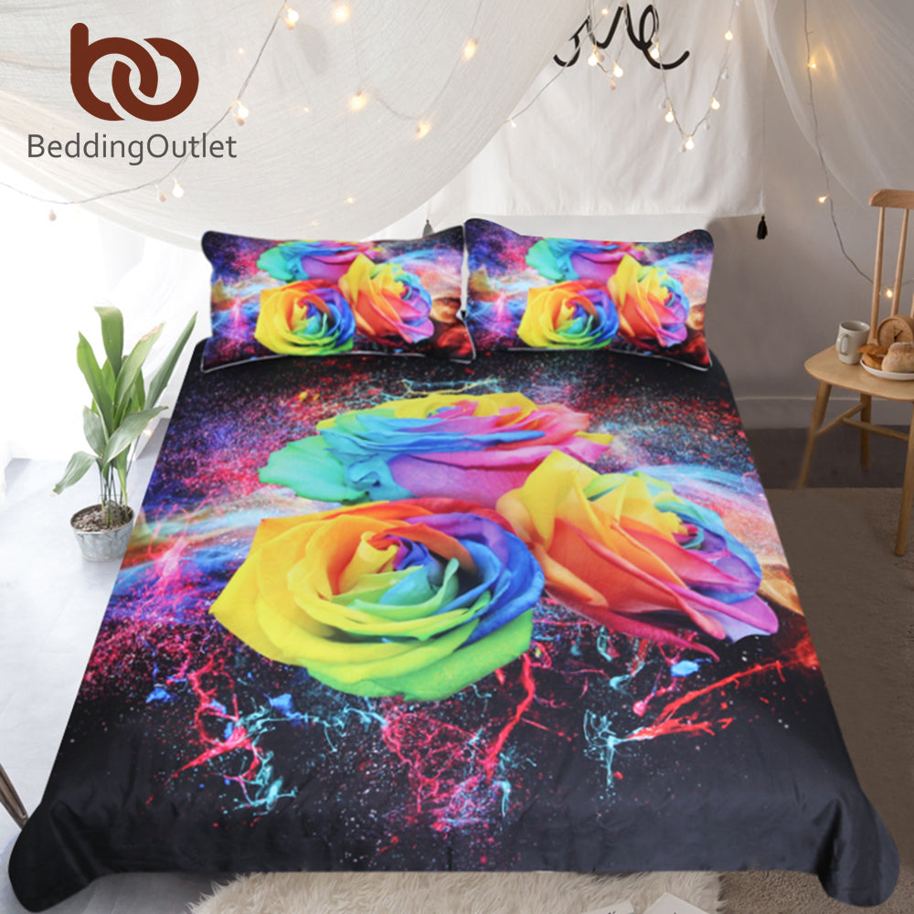 Dropshipful Colorful Roses Bedding Set for Woman 3D Printed Duvet Cover Set Floral Bedclothes 3pcs Watercolor Home Textiles - Dropshipful.com