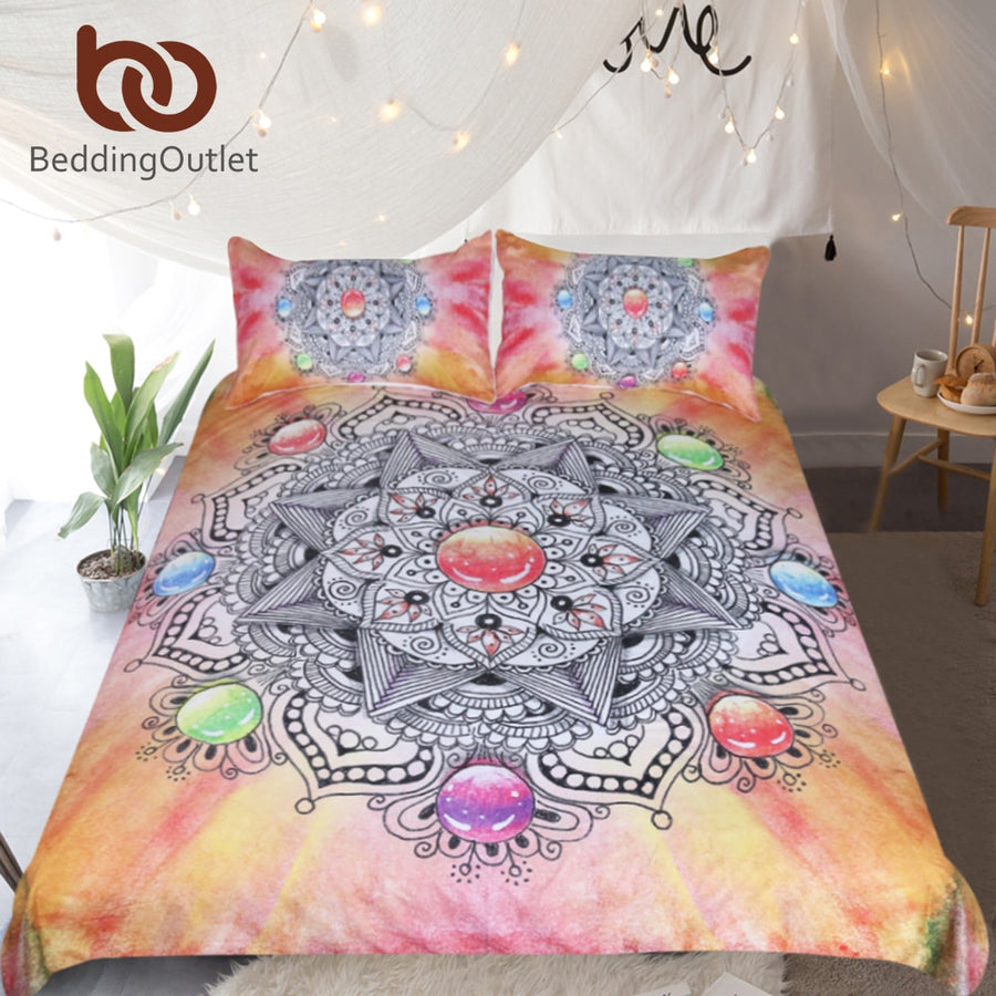 Dropshipful Mandala Bedding Set Crystal Gemstone Duvet Cover With Bohemian Pillowcases Floral Bed Set Colorful Bedclothes 3pcs - Dropshipful.com