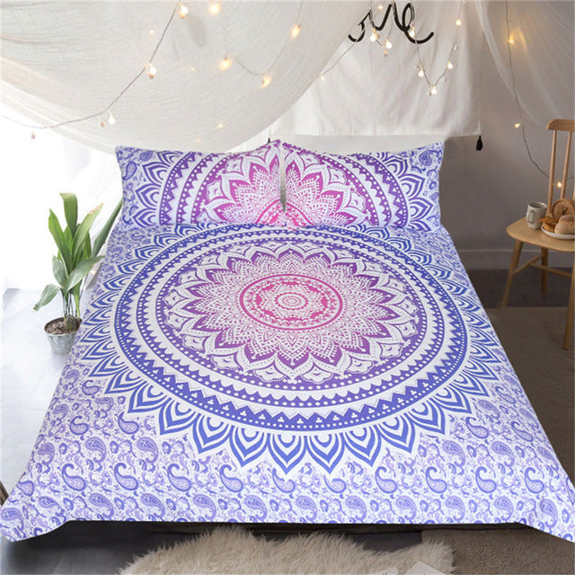 Dropship Mandala Flower Bedding Set Bohemian Girls Floral Duvet Cover Pink and Purple 3Pcs - Dropshipful.com