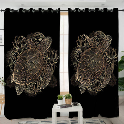 Dropshipful Turtles Living Room Curtain Golden Tortoise Curtain for Bedroom Window Treatment Drapes Flowers Lotus Home Decor - Dropshipful.com