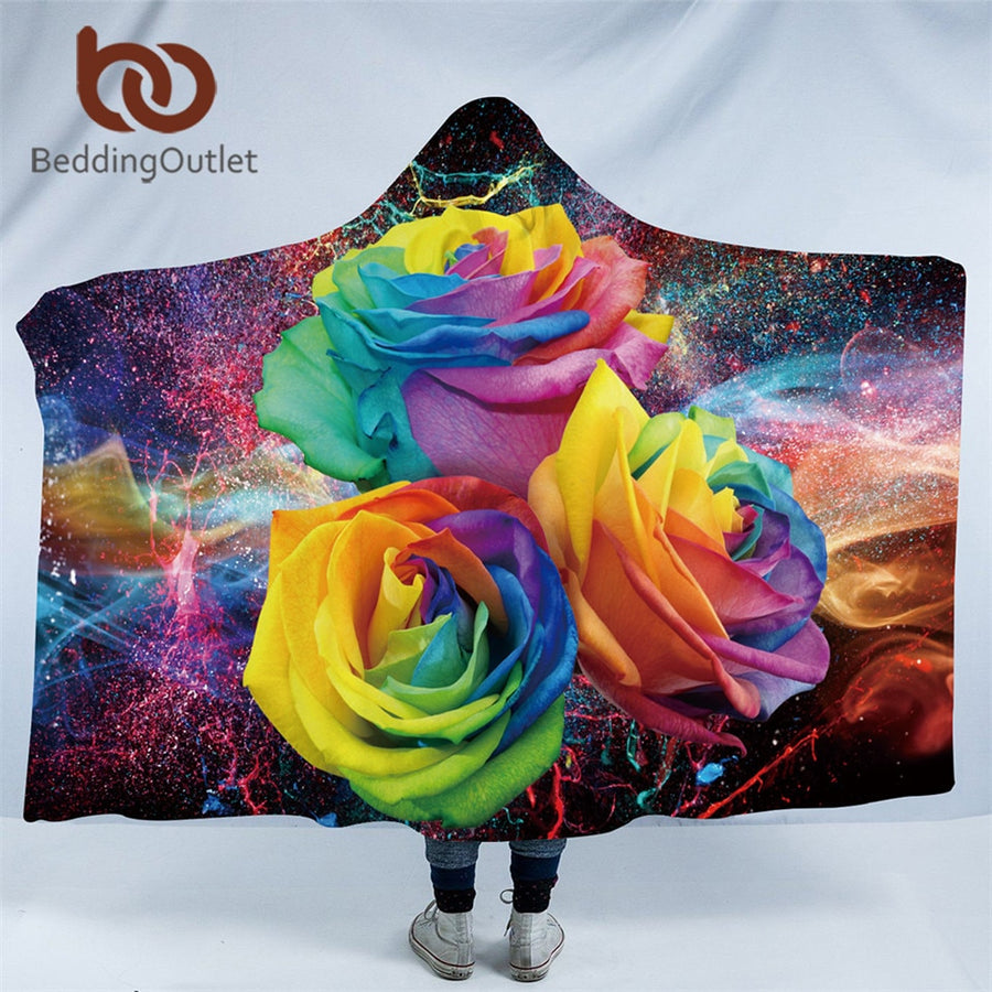 Dropshipful Colorful Roses Hooded Blanket for Woman 3D Printed Floral Sherpa Fleece Wearable Kids Throw Blanket Microfiber - Dropshipful.com