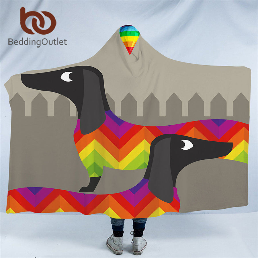 Dropshipful Dachshund Sausage Hooded Blanket Rainbow Puppy Sherpa Fleece Wearable Cartoon Dog Pet Throw Blanket Microfiber - Dropshipful.com
