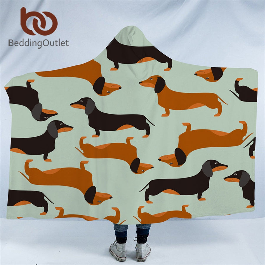 Dropshipful Cartoon Dog Microfiber Hooded Blanket for Kids Adults Dachshund Sausage Sherpa Fleece Wearable Blanket 150cmx200cm - Dropshipful.com