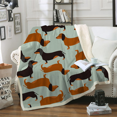 Dachshund Sausage Sherpa Blanket for Kids Adults Cartoon Colorful Plush Throw Blanket Sofa Dog - Dropshipful.com