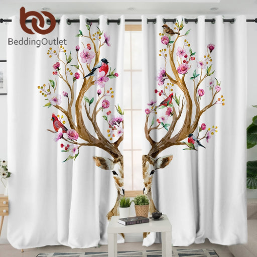 Dropshipful Floral Moose Elk Living Room Curtain Reindeer Deer Curtain for Bedroom Flowers Window Treatment Drapes Home Decor