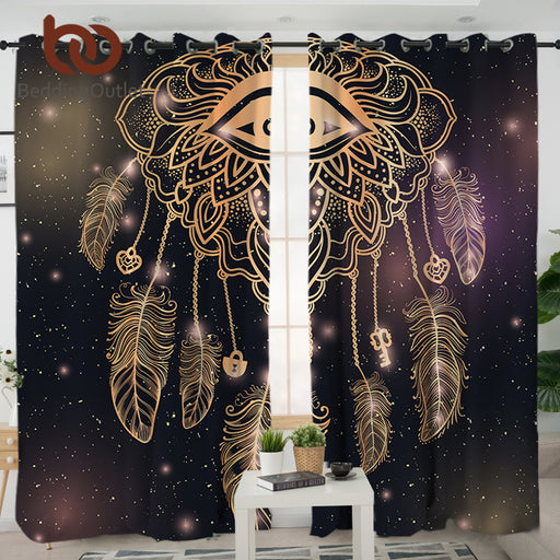 Dropshipful Eye Dreamcatcher Living Room Curtain Galaxy Bohemian Curtain for Bedroom Window Treatment Drapes Home Decoration - Dropshipful.com