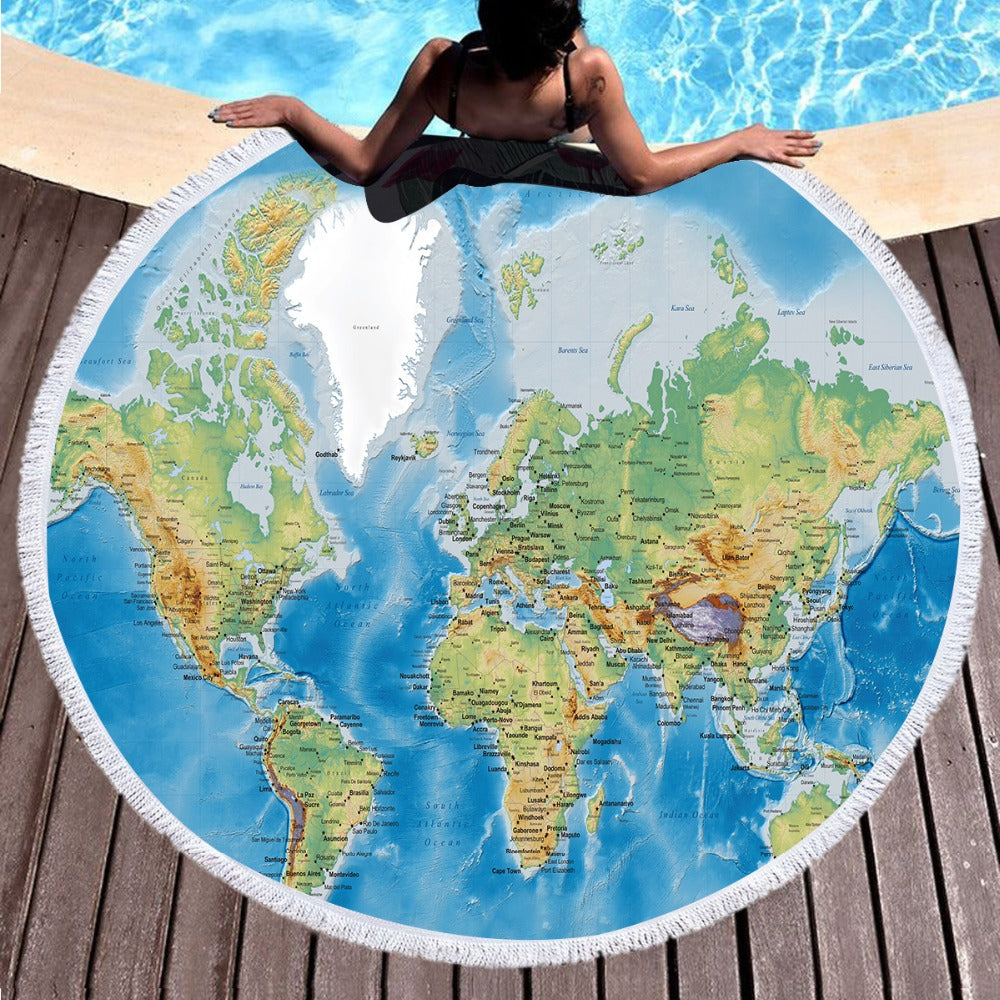 Large Round Beach Towel  World Map Summer Bath Towel Printed Microfiber 150cm - Dropshipful.com