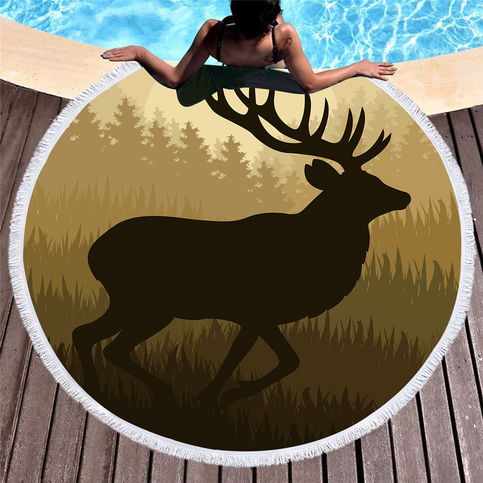 Forest Deer Printed Large Round Beach Towel With Tassel  Microfiber Summer Towel 150cm Yoga Mat - Dropshipful.com