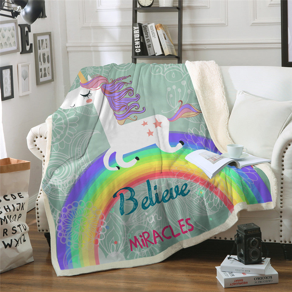 Unicorn Rainbow Blanket Believe Miracles Cartoon Plush Throw Blanket Sherpa Blanket - Dropshipful.com