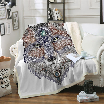 Tattoo Head Wolf Blanket Wild Beast Plush Throw Blanket for Beds Sofa Noble Animal  Sherpa Blanket - Dropshipful.com