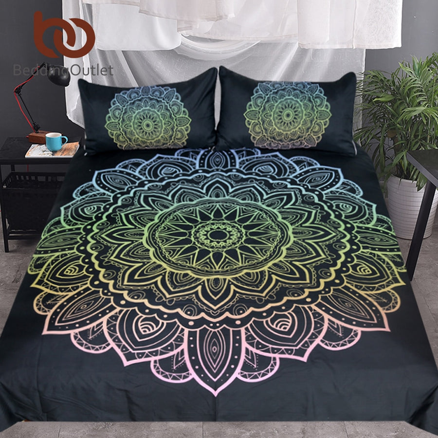 Dropshipful Mandala Bedding Set King Bohemian Duvet Cover With Pillowcases Colorful Flower Bedclothes Lotus 3-Piece Bedspreads - Dropshipful.com