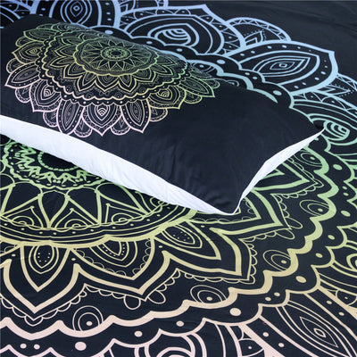 Dropship Mandala Colorful Flower Bedding Set Bohemian Lotus Duvet Cover With Pillowcases  3-Piece - Dropshipful.com