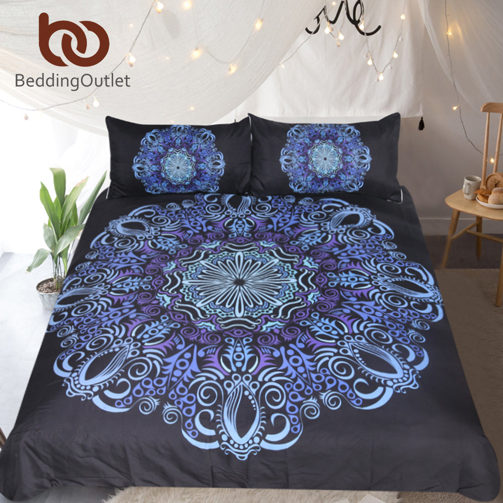Dropshipful Mandala Bedding Set Blue and Purple Duvet Cover With Pillowcases Flower Bedclothes Bohemian 3-Piece Bedspreads - Dropshipful.com