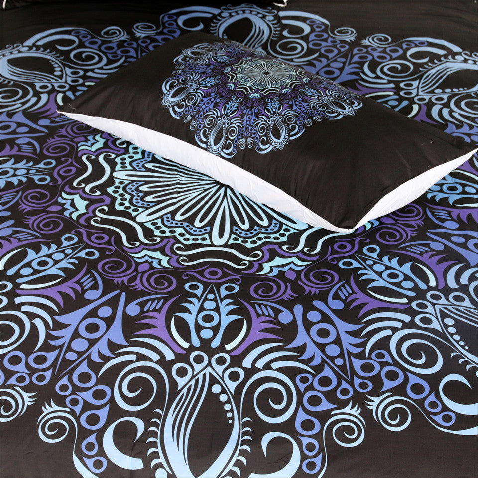 Dropship Mandala Bedding Set Blue and Purple Flower Duvet Cover With Pillowcases  3-Piece - Dropshipful.com