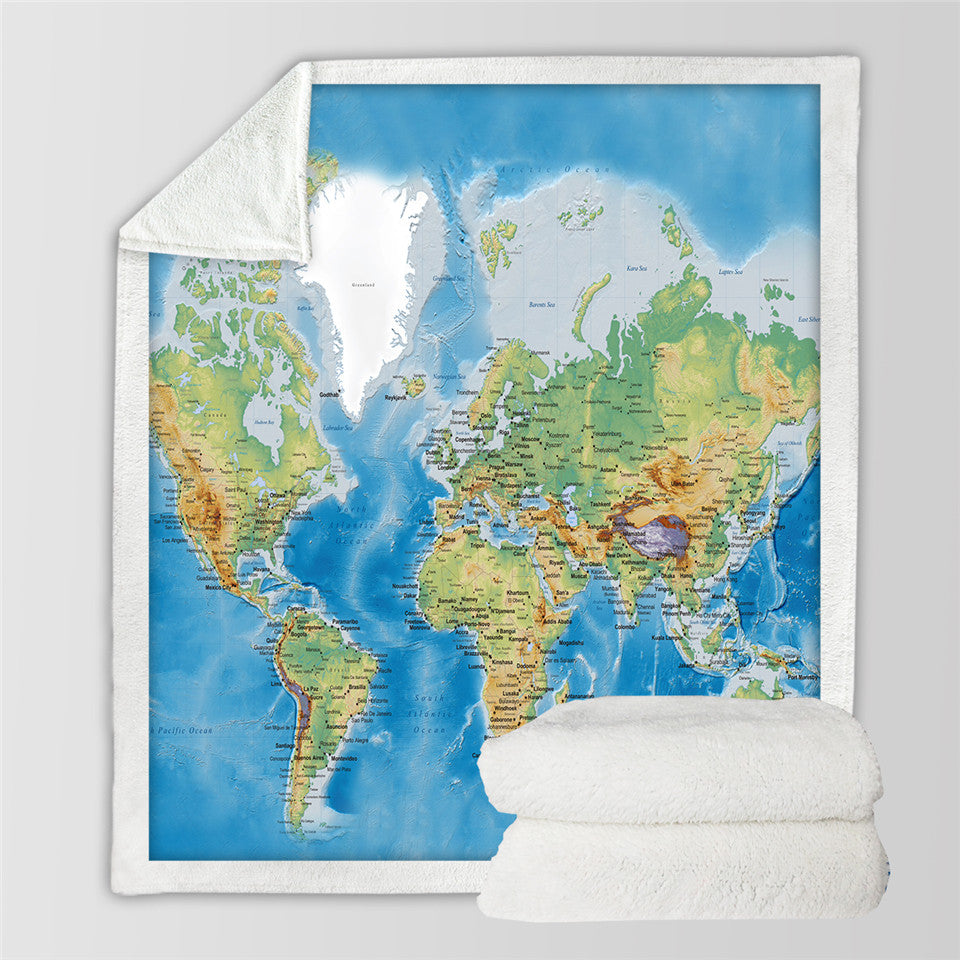 World Map Blanket  Vivid Printed Blue Plush Throw Blanket on Sofa Bed Sherpa Blanket - Dropshipful.com
