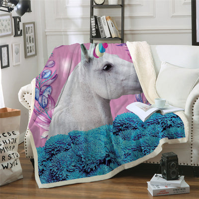 Unicorn Throw Blanket Kids Horse Sherpa Plaid Floral Home Textiles Pink and Blue 150x200cm - Dropshipful.com