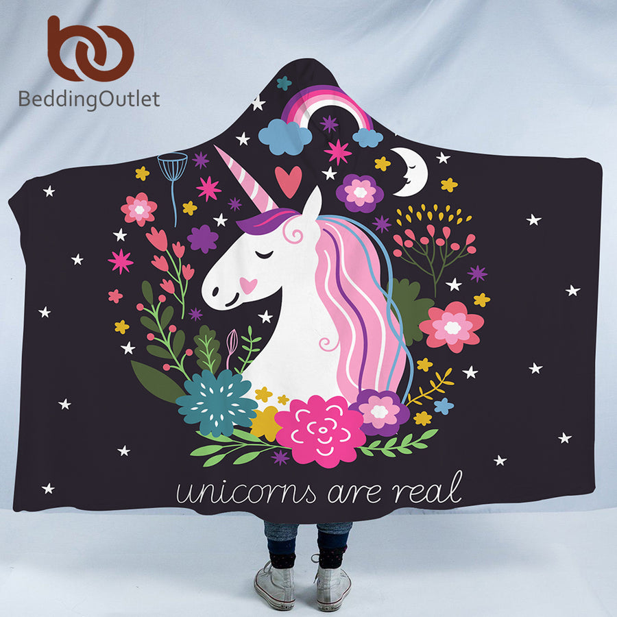 Dropshipful Cartoon Unicorn Microfiber Hooded Blanket for Kids Adult Girls Floral Sherpa Fleece Wearable Black Blanket 150x200 - Dropshipful.com