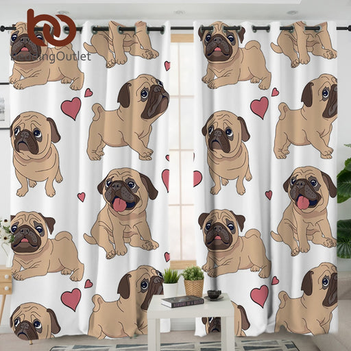 Dropshipful Hippie Pug Living Room Curtains Cartoon Cute Bulldog Decorative Curtain for Bedroom 1/2pcs Window Treatment Drapes - Dropshipful.com