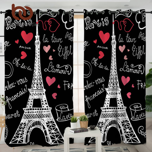 Dropshipful France Paris Tower Living Room Curtains Romantic Letters Decorative Curtain for Bedroom Window Treatment Drapes - Dropshipful.com