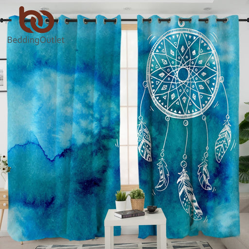 Dropshipful Dreamcatcher Living Room Curtains Watercolor Blue Pink Purple Curtain for Bedroom Decor Window Treatment Drapes - Dropshipful.com