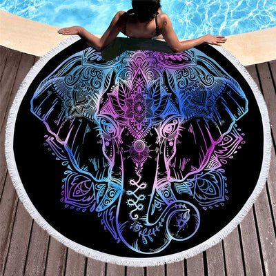 Bohemian Elephant Round Beach Towel Boho Indian Tassel Tapestry Floral Yoga Mat Lotus Flower 50cm - Dropshipful.com