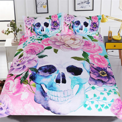 Dropship Sugar Skull Bedding Set Floral Roses Duvet Cover Set Pink Blue 3-Piece - Dropshipful.com