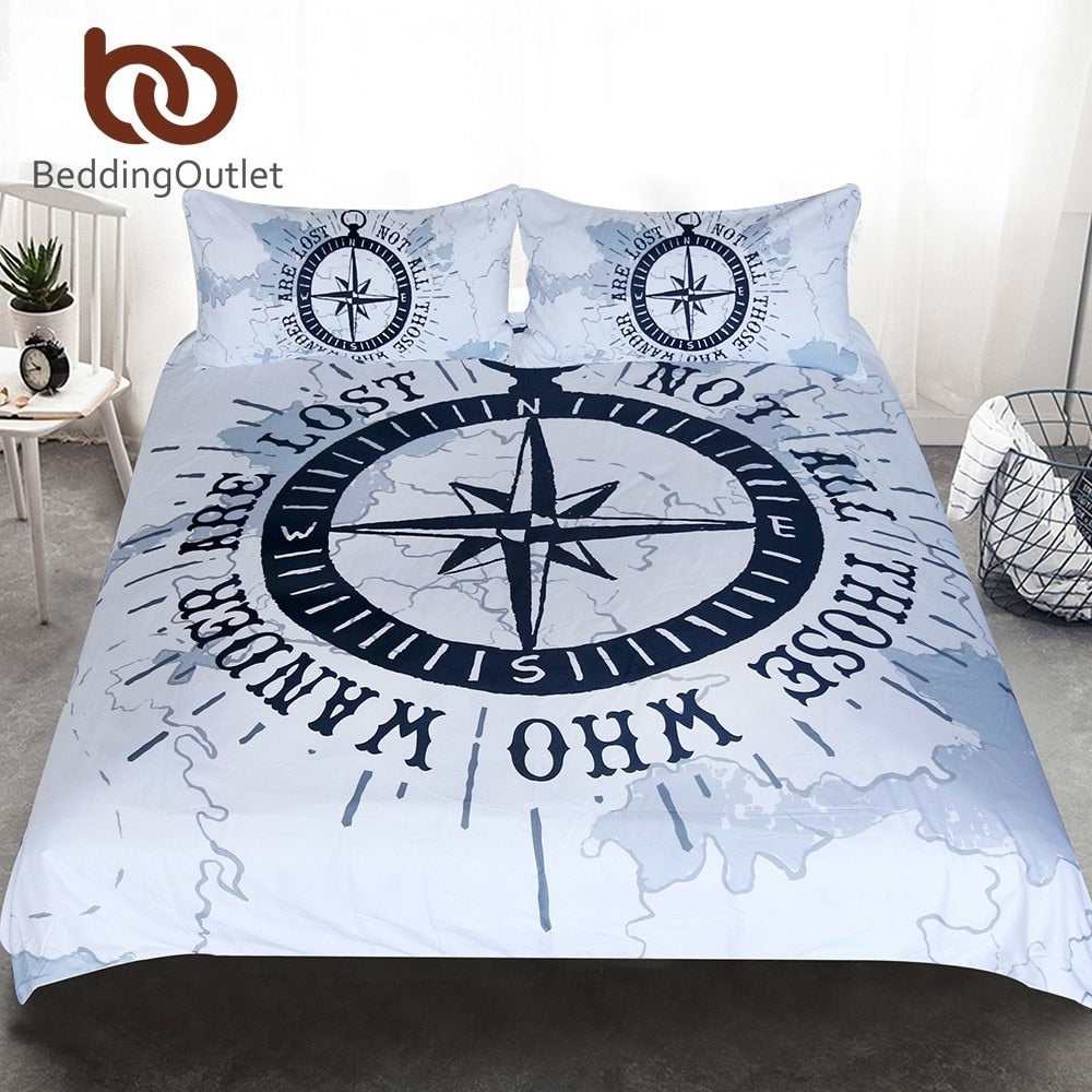 Dropshipful Compass Bedding Set Nautical Map Duvet Cover Navy Blue and White Bedclothes Adults Boys Cool Home Textiles 3 Piece - Dropshipful.com