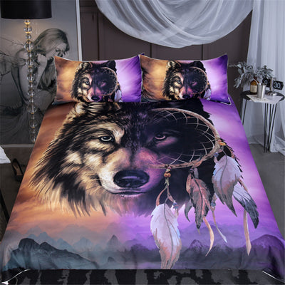 Dropship Wolf Bedding Set With Dreamcatcher Duvet Cover 3D Mountains Scenery Purple Brown 3-Piece - Dropshipful.com