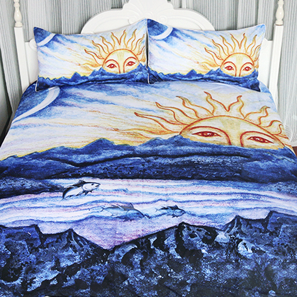 Dropship Sunrise Scenic Bedding Set Mountain Duvet Cover Set for Adults Landscape 3-Piece - Dropshipful.com