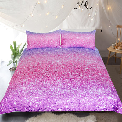 Dropship Shining Stars Bedding Set Pink and Violet Duvet Cover Set for Woman Girls 3-Piece - Dropshipful.com