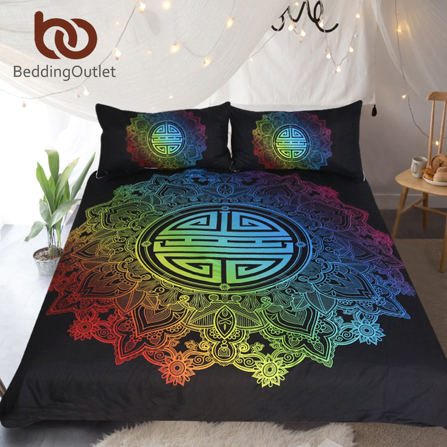 Dropshipful Mandala Bedding Set Rainbow Colorful Duvet Cover Floral Bohemian Chinese Blessing Bedclothes for Wedding 3-Piece - Dropshipful.com