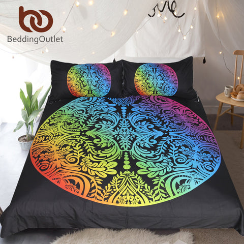 Dropshipful Bohemian Bedding Set Rainbow Color Bed Cover With Pillowcases Leaf Colorful Vintage Boho Bedclothes Adults 3-Piece - Dropshipful.com