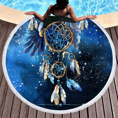 Dreamcatcher Large Round Beach Towel Blue Galaxy Boho Towel Large Bald Eagle 150cm - Dropshipful.com