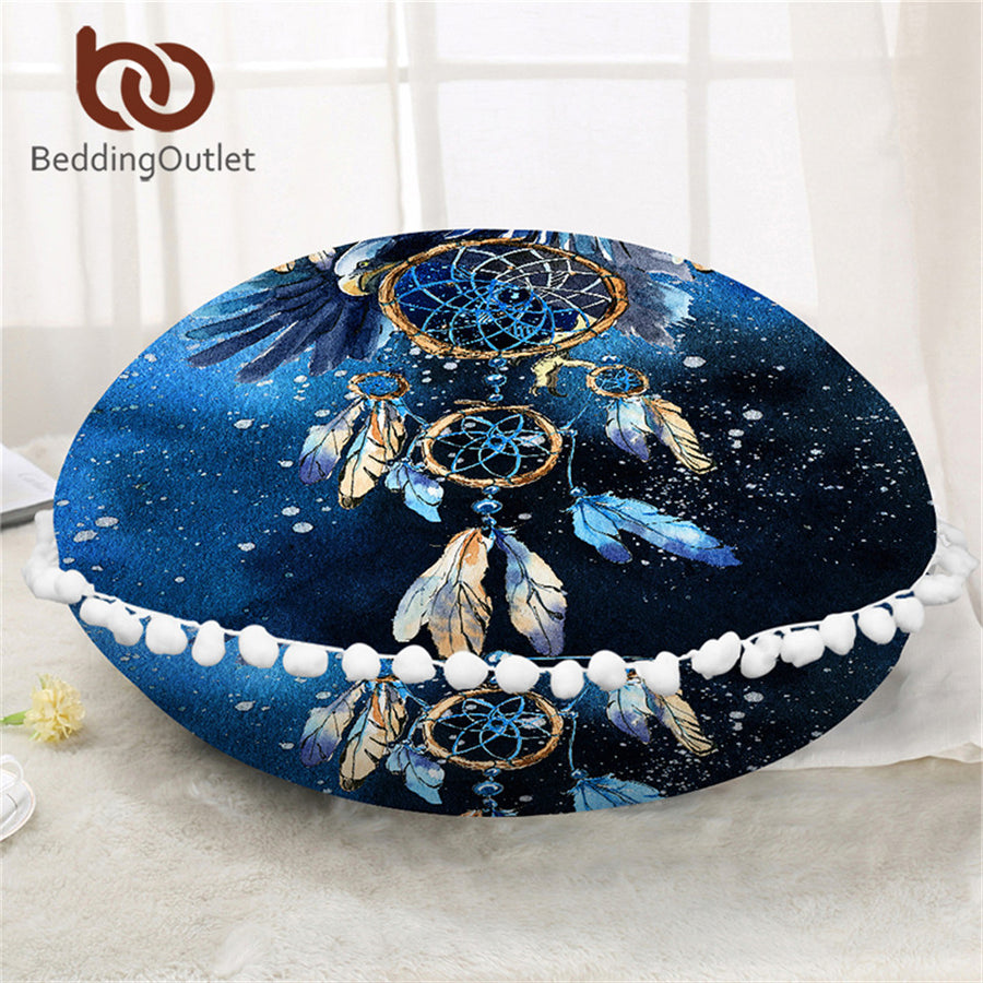 Dropshipful Dreamcatcher Round Floor Pillow Case Blue Galaxy Cushion Cover Poufs Bald Eagle Decorative Pillow Cover For Sofa - Dropshipful.com