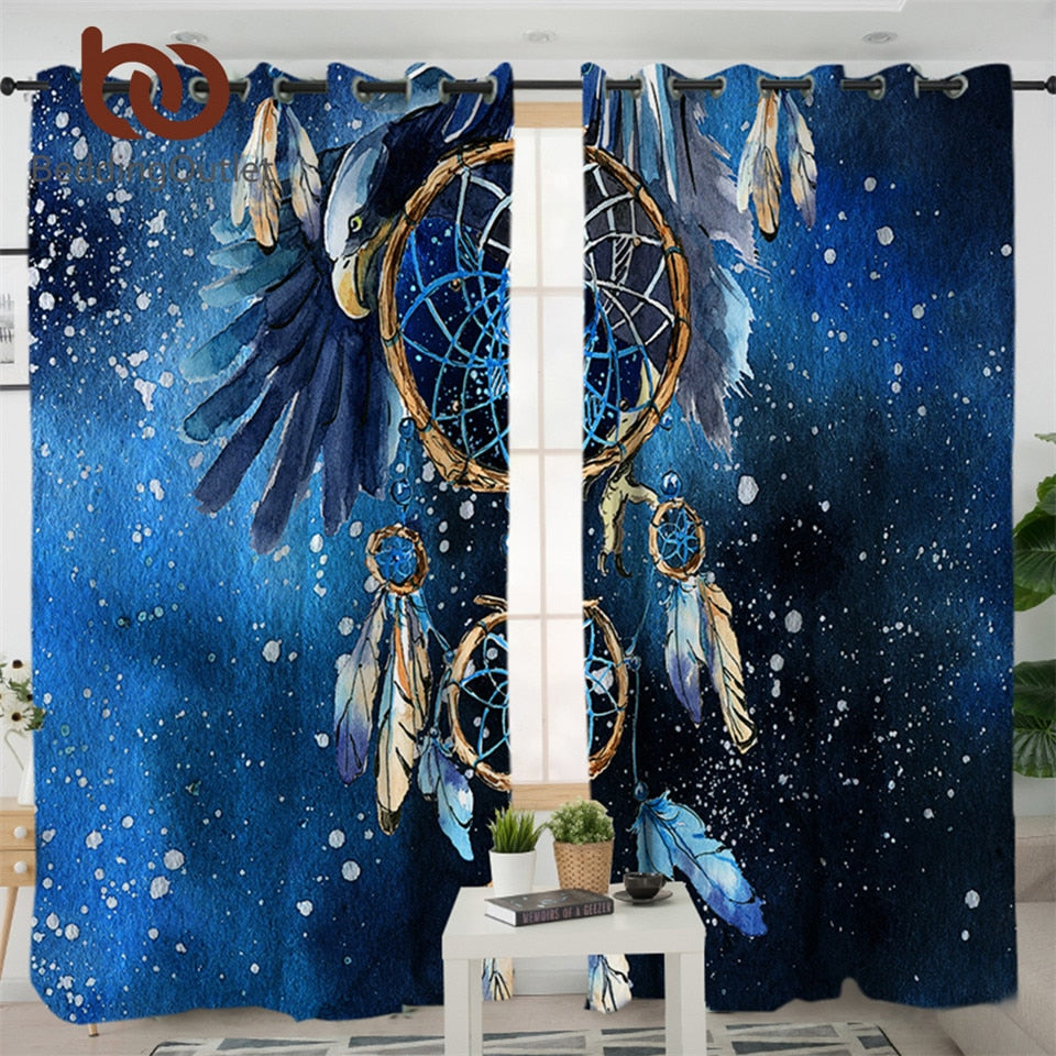 Dropshipful Dreamcatcher Boho Living Room Curtains Feathers Blue Galaxy Curtain for Bedroom Bald Eagle Window Treatment Drapes - Dropshipful.com