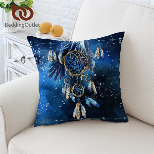 Dropshipful Dreamcatcher Cushion Cover Feather Blue Galaxy Pillowcase Bohemian Throw Cover Bald Eagle Decorative Pillow Cover - Dropshipful.com