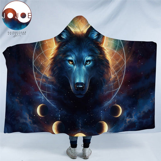 Dream Catcher by JoJoesArt Hooded Blanket Microfiber for Adults Kids Moon Eclipse Galaxy Wolf Sherpa Fleece Wearable Blanket - Dropshipful.com