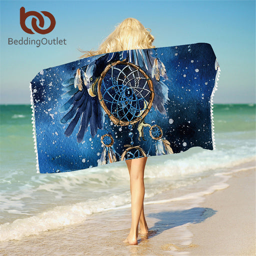 Dropshipful Dreamcatcher Bath Towel With Tassels For Bathroom Microfiber Blue Galaxy Bald Eagle Beach Towel Bohemian Blanket - Dropshipful.com