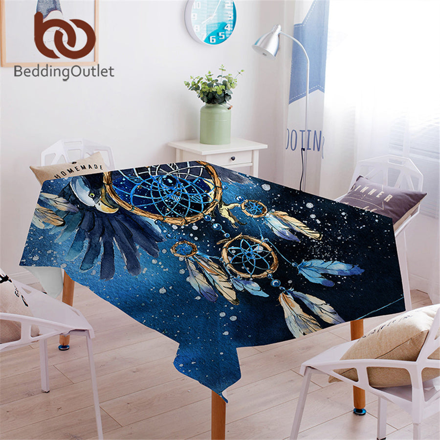 Dropshipful Dreamcatcher Tablecloth Bohemian Waterproof Table Cloth Bald Eagle Galaxy Blue Decorative Table Cover Washable - Dropshipful.com
